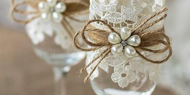 Esküvői poharak díszítése